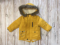 Зимова куртка жовта з мехом хлопчик 86р