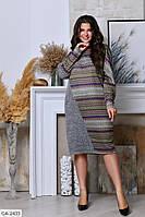 Оригинальное приятное к телу ангоровое платье свободного кроя с принтом Размер: 50-52, 58-60, 54-56 арт. 204