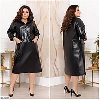 Крутое однотонное платье свободного кроя из эко-кожи с карманами Размер: 50-52, 58-60, 62-64, 54-56 арт. 7245