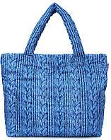 Узорчатая женская дутая стеганая сумка с принтом из болоньи POOLPARTY pool-68-blue-sweater