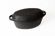 Гусятница  чугунная  с чугунной крышкой-сковородой. Объем 9,0 литров