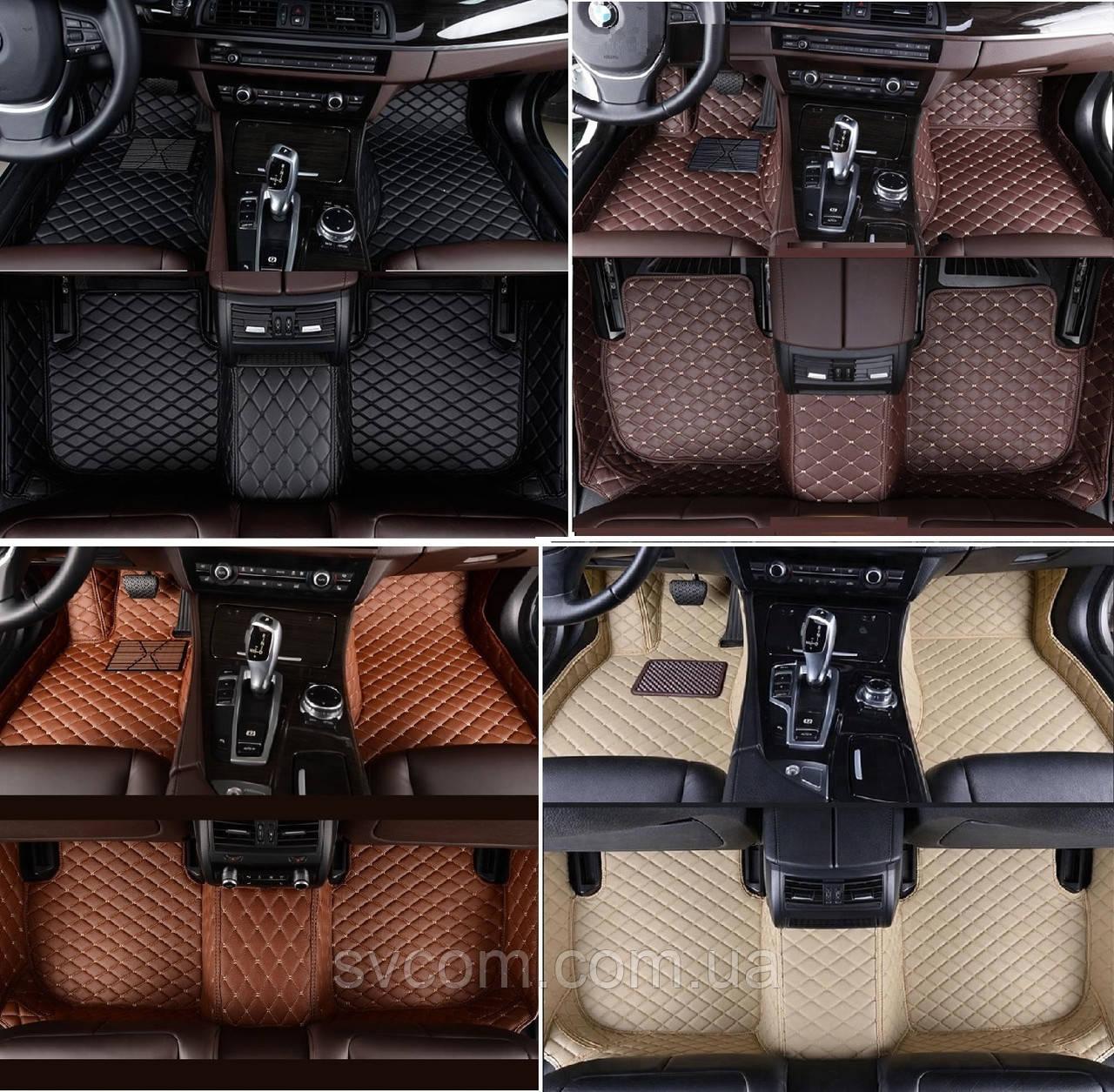 Кожаные Коврики Porsche Cayenne из Экокожи 3D (2002-2010) Коврики Порше Кайен