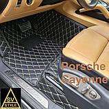 Кожаные Коврики Porsche Cayenne из Экокожи 3D (2002-2010) Коврики Порше Кайен, фото 4