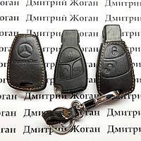 Чехол (кожаный, черная рыбка) для авто ключа Мерседес (Mercedes) 2 кнопки