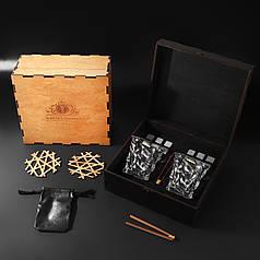 Камни для виски подарочный деревянный набор с бокалами. Кубики для охлаждения виски
