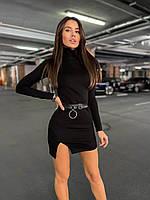 Сукня міні жіноче базове облягає з ефектом утяжки з розрізом і коміром під горло Smslip6555