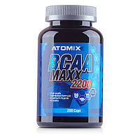ATOMIXX- USA  BCAA MAXX 2200, 200 капс.Способствует росту мышц, помогает уменьшить разрушение мышц