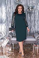 Оригинальное вечернее приталенное платье из креп-дайвинга с накладными листочками р:52,54, 56, 58, 60 арт. 272