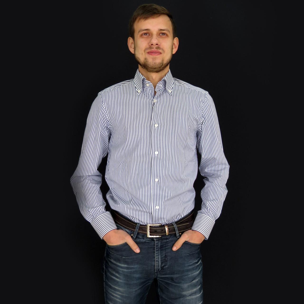 fad6e5034c1 Рубашка мужская в бело-синюю полоску. Длинный рукав