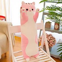 М'яка іграшка подушка обнімашка довгий кіт антистрес 70см рожевий