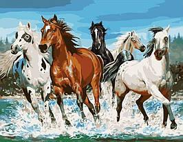 Картина по Номерам Бравые кони 40х50см Strateg