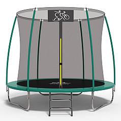 Батут FitToSky 252С см з внутрішньою сіткою та драбинкою, зелений