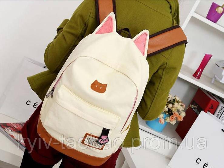 Городской кото-рюкзак с ушками и лапкой бежевый