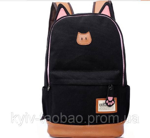 Городской кото-рюкзак с ушками и лапкой черный