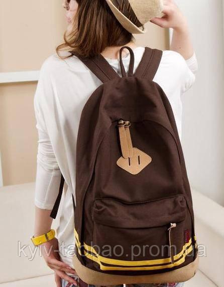Модный городской рюкзак с пятачком коричневый