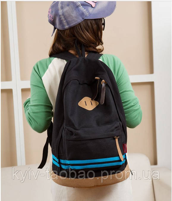 Модный городской рюкзак с пятачком черный