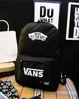 Рюкзак Vans Off the Wall классический красное ЛОГО черный с белым лого