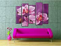 """Модульная картина """"Нежные орхидеи"""" фотопечать на холсте, фото 1"""