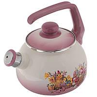 """Чайник эмалированный со свистком 2,5 л """"Краски лета"""""""