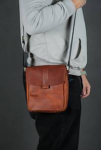 Шкіряна чоловіча сумка Вільям, натуральна Вінтажна шкіра колір коричневый, оттенок Коньяк