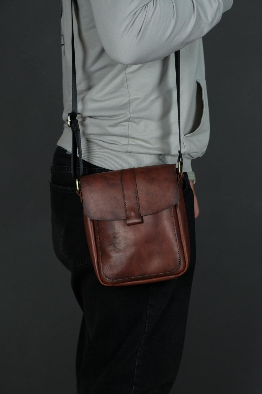 Кожаная мужская сумка Уильям, натуральная кожа итальянский Краст цвет коричневий, відтінок Вишня
