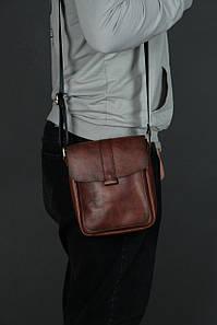 Шкіряна чоловіча сумка Вільям, натуральна шкіра італійський Краст колір коричневий, відтінок Вишня