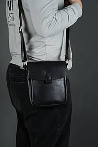 Шкіряна чоловіча сумка Вільям, натуральна шкіра італійський Краст колір Чорний