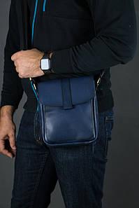 Шкіряна чоловіча сумка Вільям, натуральна шкіра італійський Краст колір Синій
