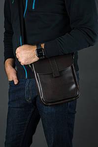 Шкіряна чоловіча сумка Вільям, натуральна шкіра італійський Краст колір Кави