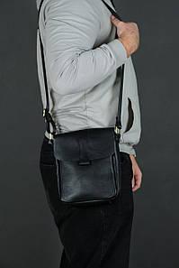Шкіряна чоловіча сумка Вільям, натуральна Гладка шкіра колір Чорний
