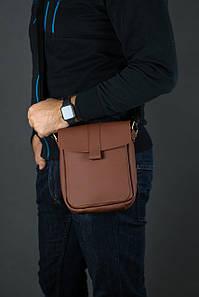 Шкіряна чоловіча сумка Вільям, натуральна шкіра Grand колір коричневый, оттенок Шоколад
