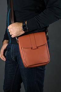 Шкіряна чоловіча сумка Вільям, натуральна шкіра Grand колір коричневый, оттенок Коньяк