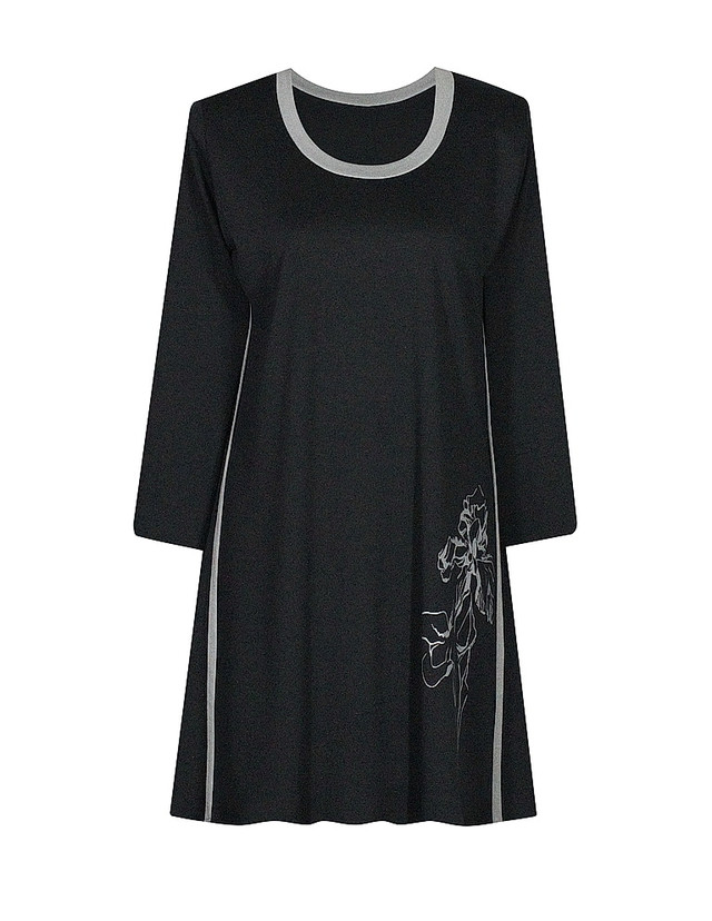 Платье с кантами и принтом Ирисы,серые вставки