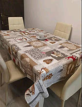 Скатертина новорічна 120*150 см Тканина Льон Сірого кольору Олені