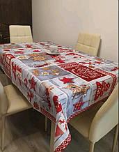Скатертина новорічна Рогожка 150 *220 см Тканина Льон Червоно - Сірого кольору Зірки