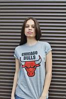 """Футболка женская серая """"Chicago Bulls"""" Чикаго Буллс"""