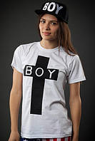 Футболка женская белая с крестом BOY БОЙ