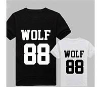 """Футболка мужская чёрная белая """"WOLF 88"""""""