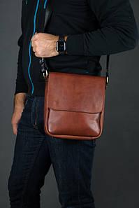 Шкіряна чоловіча сумка Брюс, натуральна Шкіра Італійський Краст колір коричневий, відтінок Вишня