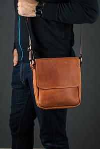 Шкіряна чоловіча сумка Брюс, натуральна Вінтажна шкіра колір коричневый, оттенок Коньяк