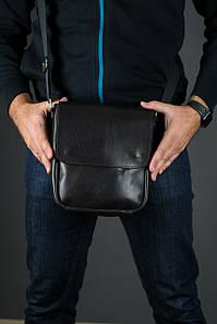 Шкіряна чоловіча сумка Брюс, натуральна шкіра італійський Краст колір коричневий, відтінок Кава