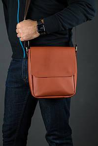 Шкіряна чоловіча сумка Брюс, натуральна шкіра Grand колір коричневый, оттенок Коньяк