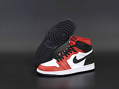 Чоловічі кросівки Nike Air Jordan. White Black Red. ТОП Репліка ААА класу.