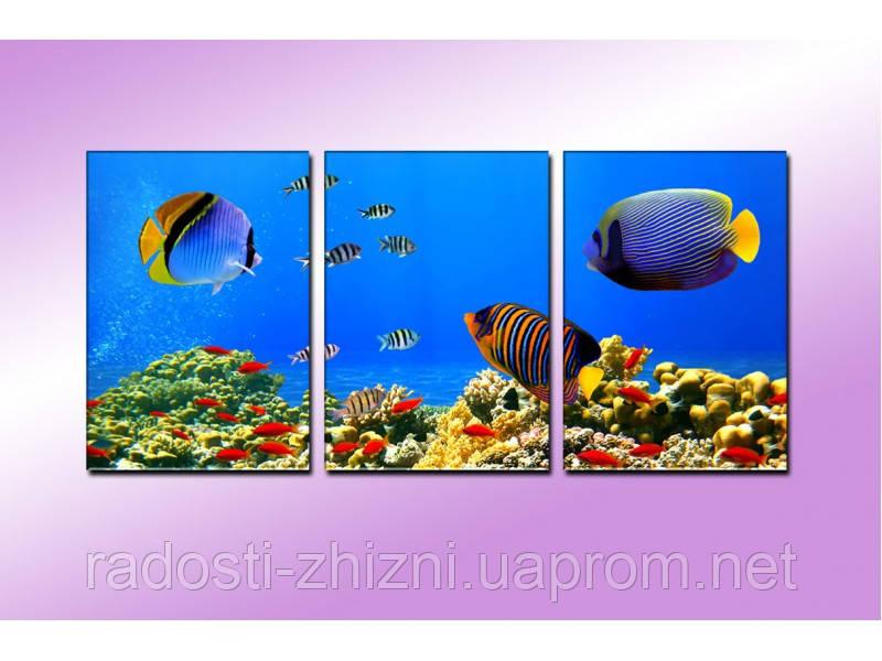 """Модульная картина """"Подводный мир"""" фотопечать на холсте"""
