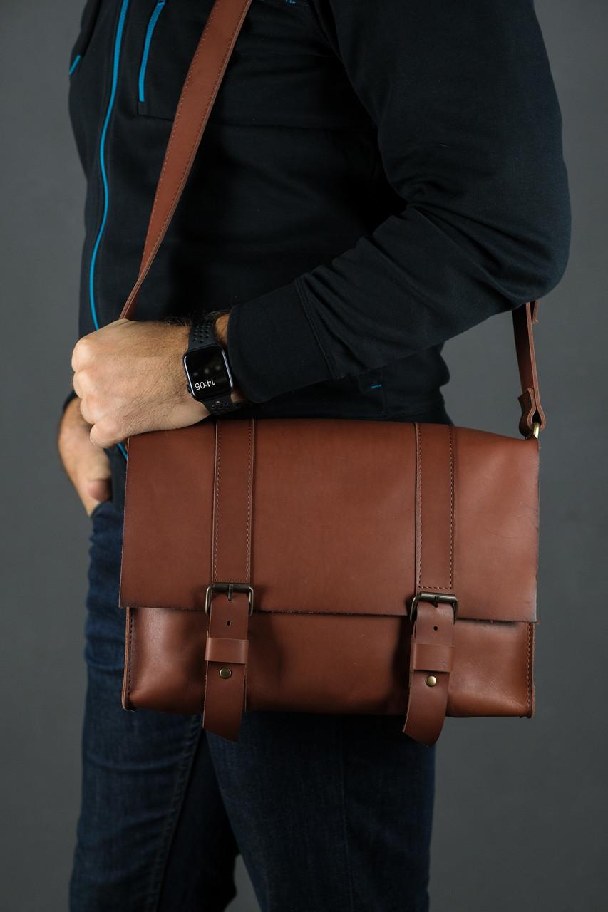 Шкіряна чоловіча сумка Кемерон, натуральна шкіра італійський Краст колір Коричневий