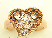 Позолоченное кольцо сердце с цирконием G3 17 украшения бижутерия ювелирные изделия