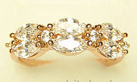 Позолоченное кольцо с овальными кристалами G5 18 украшения бижутерия ювелирные изделия