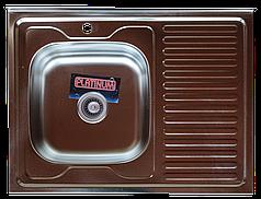 Кухонная мойка из нержавеющей стали Platinum 8060 L ДЕКОР 0,7 / 160
