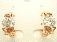 Позолоченные серьги с кристалами и бабочками колечки G6  украшения бижутерия ювелирные изделия