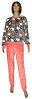 NEW! Яскраві та теплі жіночі махрові піжамки - серія 21028 Котики Сіро-рожева вельсофт ТМ УКРТРИКОТАЖ!